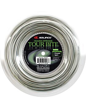 Bobine Cordage Tennis Solinco Tour Bite jauge 1,25mm 200m argenté