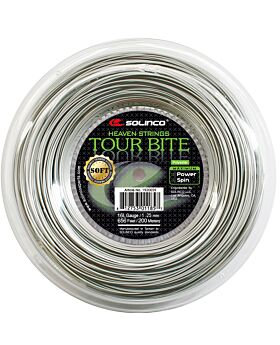 Bobine Cordage Tennis Solinco Tour Bite Soft jauge 1,25mm 200m argenté