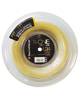 Bobine cordage Tennis Tecnifibre X-One biphase jauge 1,24mm 200m naturel